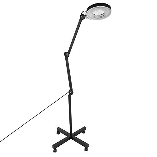 Beauty Magnifying Lamp,5X LED Magnifier Floor Stand Lamp Adjustable Swivel Arm Rolling Floor Stand Magnifying Light Diopter for Salon Beauty Equipment (Black) from Zerone