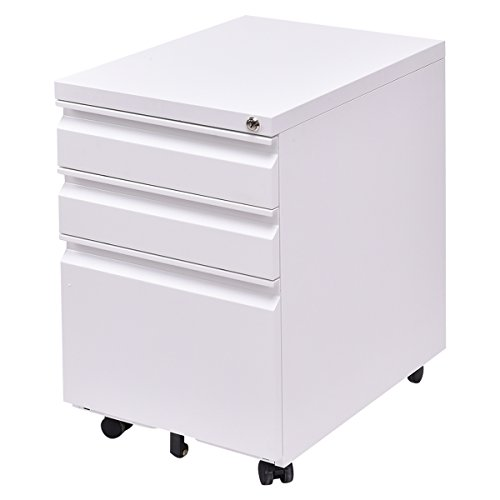 Giantex 3 Drawers Rolling Mobile File Pedestal Storage Cabinet Steel Home Office (White)