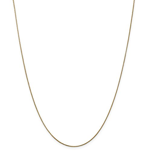 (14k Gold Diamond-Cut Wheat Chain Necklace with Lobster Clasp (0.5mm) - Yellow-Gold, 30 in)