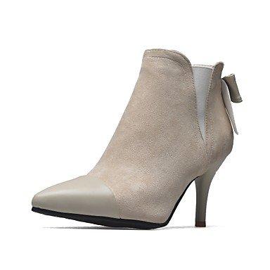 RTRY Zapatos De Mujer Cuero De Nubuck Polipiel Primavera Otoño Moda Botas Botas Stiletto Talón Señaló Toe Botines/Botines Bowknot Split US8.5 / EU39 / UK6.5 / CN40