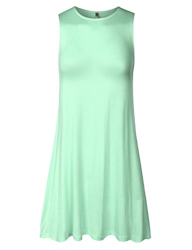 BIADANI Women Sleeveless Classy Drape Basic Tunice Dress Top Mint X-Large