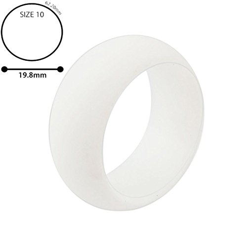 (Voberry Silicone Wedding Band Engagement Ring Men Women Ring Jewelry (10, White))