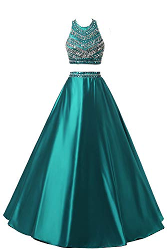 (Himoda Women's Two Pieces Beaded Evening Gowns Satin Sequined Prom Dresses Long H052 6 Teal)