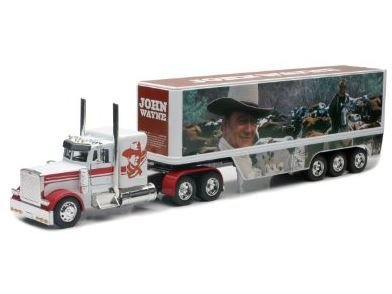 Peterbilt Tractor Trailer Diecast Toy - John Wayne Peterbilt Die Cast Semi-Truck Tractor and Trailer Hauler Set