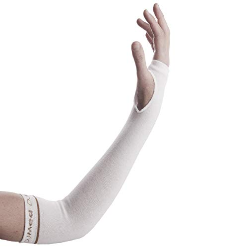 DJMed Arm Skin Protectors - Protective Arm Sleeves, for Sensitive Skin, Help Protect from Tears & Bruising - Pair, White (Small)