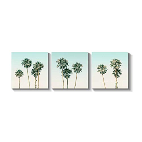 Grander Group Seascape Picture Beach Trees Artwork - Coast Palms Print on Canvas Set for Wall Decor
