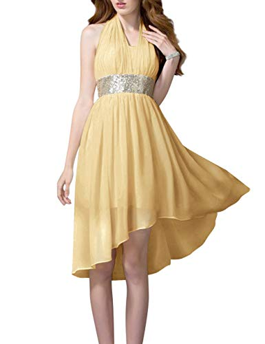 High Gold Bess Homecoming Chiffon Low Sequin Dress Prom Bridal Halter Party Women's wPq18ErP