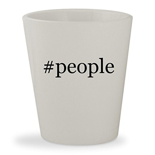 #people - White Hashtag Ceramic 1.5oz Shot Glass