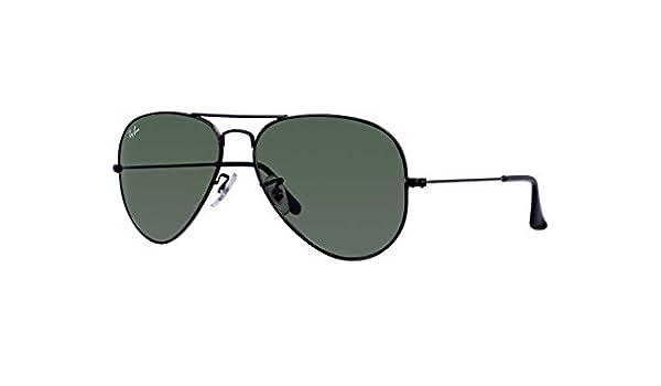 7a297184fe8367 Amazon.com  Ray-Ban RB3025 Aviator Large Metal Unisex Sunglasses (Black  Frame  Grey Green Lens L2823