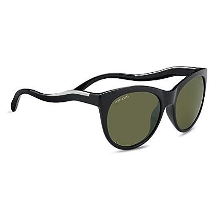 Image of SERENGETI Valentina Sunglasses Shiny Black/Shiny Silver, Green