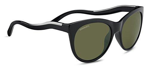 Serengeti Valentina Sunglasses Shiny Black/Shiny Silver, Green by Serengeti