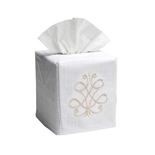 Jacaranda Living Linen/Cotton Tissue Box Cover, French Scroll, Beige