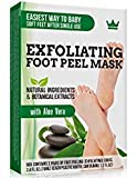 Exfoliating Foot Peel Mask - 2 Pairs of Booties for Smooth and Soft Feet - Peeling Away Rough Heels Dead Skin Cells and Calluses - Aloe Scented Natural Formula for Silky Soft Feet