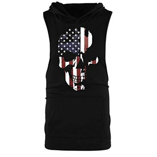 LEKODE Men Vest Skull Flag Splicing Sports Striped Tee Large Open-Forked Male T-Shirt(Black,2XL)]()