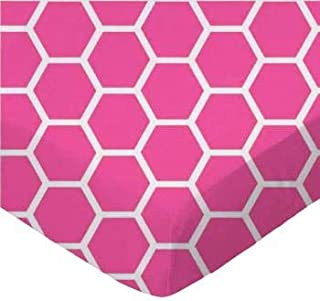 product image for SheetWorld 100% Cotton Percale Flat Crib Toddler Sheet 28 x 52, Hot Pink Honeycomb, Made in USA