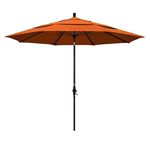 California Umbrella 11′ Round Aluminum Pole Fiberglass Rib Market Umbrella, Crank Lift, Collar Tilt, Bronze Pole, Pacifica Tuscan For Sale