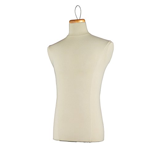 Econoco M1LP Male Coat Form Tailor Bust, Neckblock and Wire Loop, Creme by Econoco