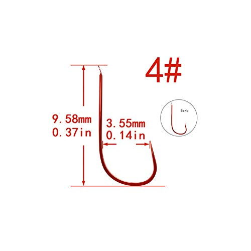 Green_Home 100pcs Red Barbed Non-Barbed Fishing Hooks Lot Circle High Carbon Steel sharpened Bait Tackle Strong Fishhook Sizes 1 2 3,Red Nobarbed4