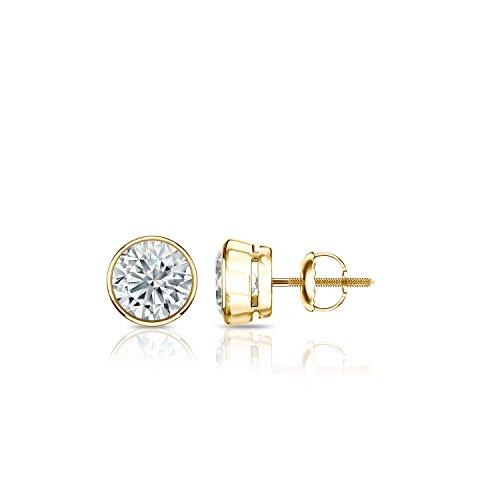 Diamond Gold Stud Set (14k Yellow Gold Bezel-set Round Diamond Stud Earrings (0.40 ct, H-I, I2-I3))