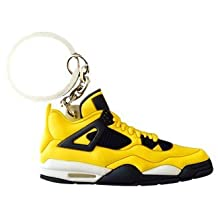 "Nike Jordan 4 IV Yellow ""Lightning"" 2D Flat Sneaker Keychain"