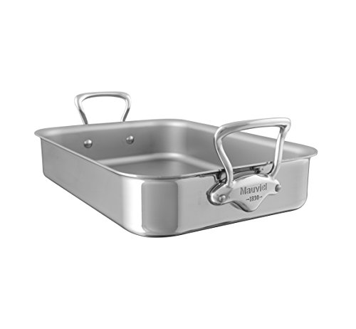 Mauviel Made In France M'Cook 5217.35 13.5 x 9 Inch Roasting Pan, Cast Stainless Steel Handles -