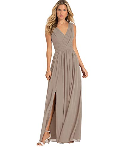 Yilis Plus Size Double V Neck Chiffon A Line Bridesmaid Dress Long Slit Formal Prom Evening Dresses Taupe US24W (Graduation Dresses To Wear Under The Gown)