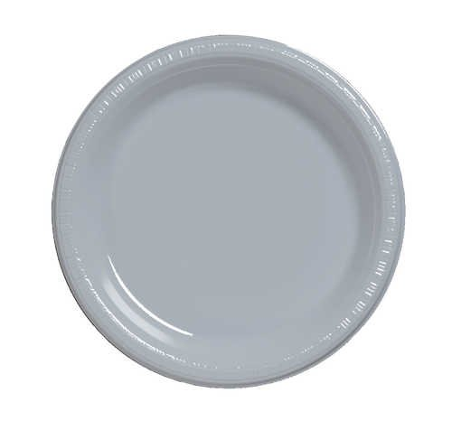 Creative Converting 28106031B 10 inch Plastic Banquet Plate Bulk Shimmering Silver 600 Counts by Creative Converting