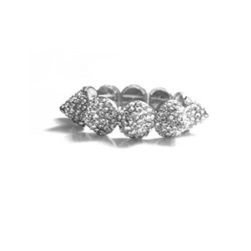 (Punk Style Rhinestone Spike Strand Stretch Bracelets (Silver))