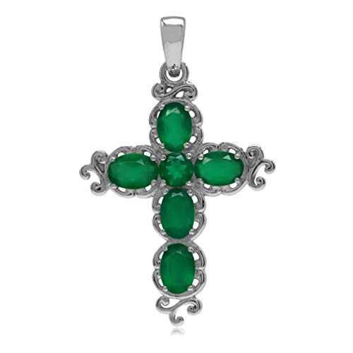 Agate Green Cross - 2.34ct. Natural Emerald Green Agate White Gold Plated 925 Sterling Silver Victorian Cross Pendant