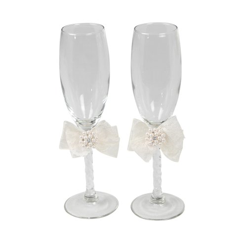 Delilah Pair of Glass Wedding Toasting Flutes, Ivory