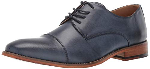 Kenneth Cole REACTION Men's Blake Cap Toe Lace Up Oxford, Navy, 7.5 M US