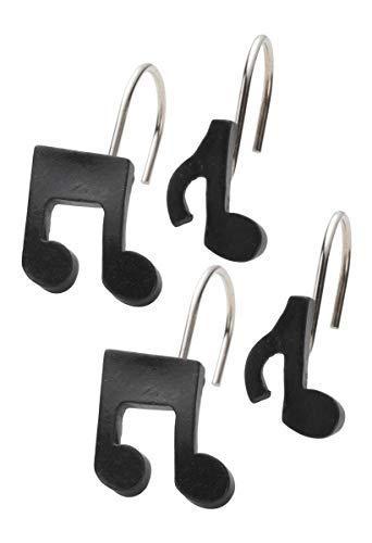 Ben & Jonah Black Music Note Resin Shower Curtain Hooks, Set of 12 Splash Collection by Ben&Jonah, ()