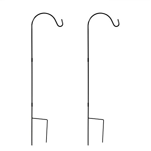 Sunnydaze Outdoor Heavy Duty Shepherd Hooks, Garden Poles For Hanging Bird Feeders and Plants, 48 Inch Tall, Set of 2, Black