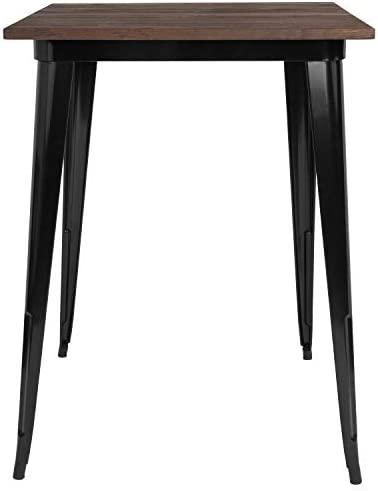 Taylor Logan 31.5 Inch Square Metal Indoor Bar Height Table with Walnut Rustic Wood Top, Black