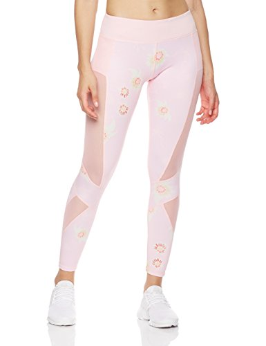 Mint Lilac Women's Printed Full-Length Leggings Athletic Workout Pant with Mesh Panels Medium Pink