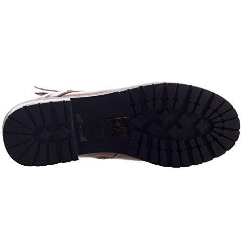Unze Mujeres Hoorie 'abrochó Adorned Otoño Zapatos de invierno de arranque Beige