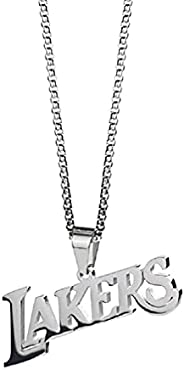 Lakers Necklace for Men, Stainless Steel Los Angeles Lakers Basketball Pendant Necklace Hip Hop Team Logo Neck