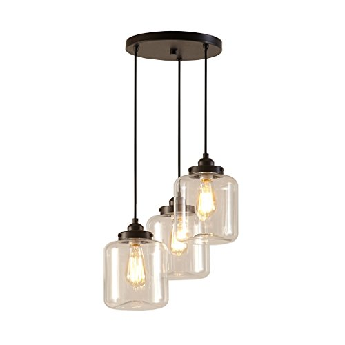 Urban Living Torchiere (Modern Clear Glass Three Light Pendant Painted in Bronze with Metal Plate in Black Finish - Includes Modhaus Living Pen)
