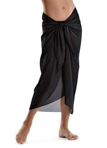 FATOS Beach Cover Womens Beach Sarong Pareo Swimwear Chiffon Cover up Swimsuit Wrap Solid Color Long Black