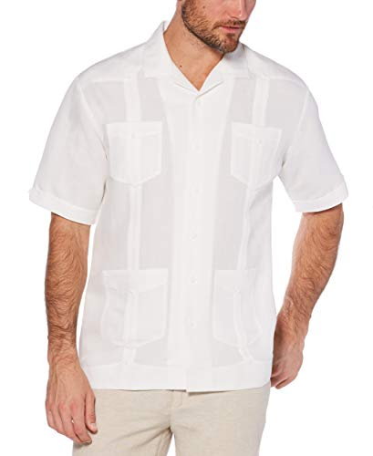 Cubavera Men's Short Sleeve Traditional Guayabera Shirt, Bright White, - Embroidered Shirt Jacket