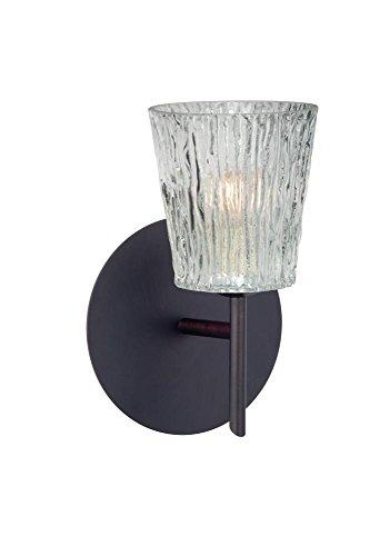- Besa Lighting 1SW-512500-LED-BR Besa, Nico 4 Mini Sconce, Clear Stone, Bronze Finish, 1x5W LED