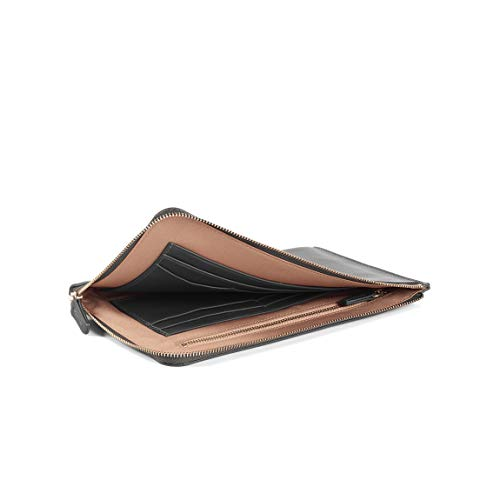 brown Grain Leather Black Full Leather Travel Onyx Zip Brown Wallet Slim qIH8f8