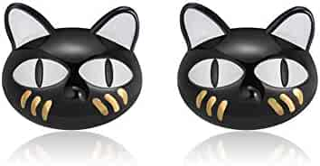 8166866c8 Ginny Black Cat Cute Kitty Kitten Stud Earrings Sterling Silver Ginger Lyne  Collection