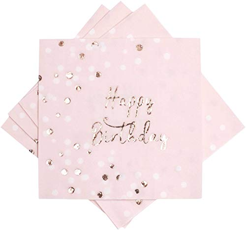 ZEALAX Rose Gold Foil Cocktail Napkins - 24 Count Happy Birthday Party Napkins Disposable 3 Ply Luncheon Beverage Napkins, Folded 6.5 x 6.5 inch, Pale Pink