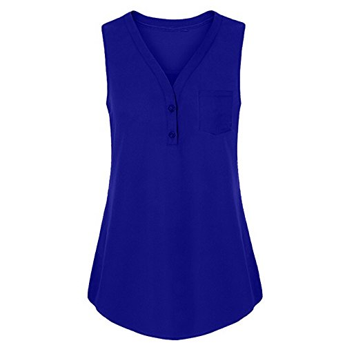 Sunmoot Clearance Sale Plus Size Henleys Shirt Womens Sleeveless Tank Tops Summer Casual Button Blouse T-Shirt Tunic ()