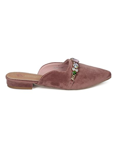 Alrisco Mujer Pointy Toe Slip On Mule - Diamantes De Imitación Adornada Loafer Slide - Talón Bajo Slip On Loafer Mule - Gd29 By Dbdk Collection Blush Faux Suede