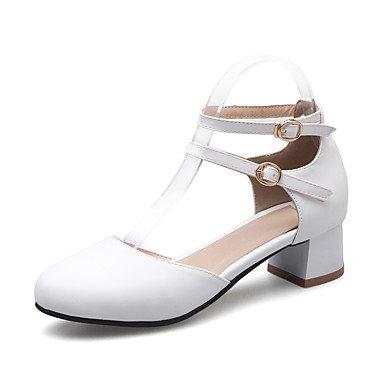 LvYuan Mujer-Tacón Bajo Tacón Robusto-Otro-Sandalias-Oficina y Trabajo Vestido Informal-PU-Negro Rosa Blanco Beige White