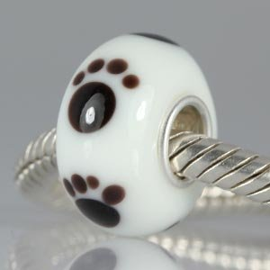 Dog Paw Glass Charm 925 sterling silver core fit Pandora Charms Bracelets -