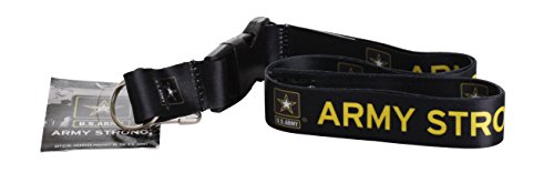US Army Strong Black Official Licensed Lanyard Key Chain ID Holder