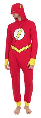 DC Comics The Flash Hooded One Piece Pajama (Adult Large)